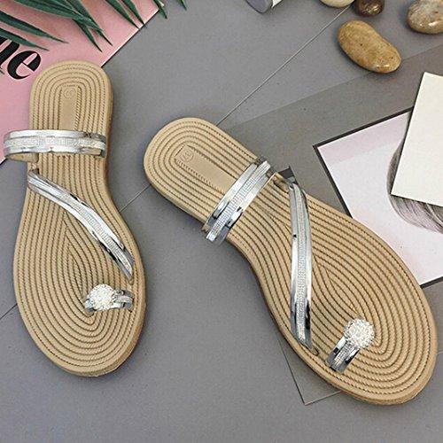 Manadlian 锟�?Damen Sandalen 锟�?Frauen Flip Flops Pantoffeln flache Sandalen Sommer Beach Casual Schuhe Silber