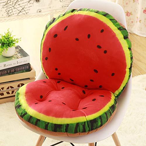 JIJIHAO Zuodian 3D Obst Muster Plüsch Kissen Zurück Zu Einem Bürostuhl Student Sitz Esszimmerstuhl Hocker Verdickung Pad Innendekoration Matte (L40 * H80 cm) (Color : Watermelon, Size : 40x80cm)