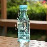 VORCOOL Plastikflasche, transparent, auslaufsicher, BPA-frei, 550ml, für Laufen, Sport im Freien (himmelblau)