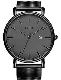 BUREI Unisex Ultra Dünne Schwarze Minimalistische Quartz-Uhr mit Datumsanzeige und Milanese Armband (Dunkelgrau)