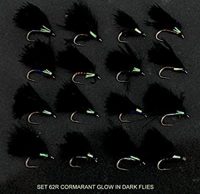 TROUT Fly Fishing Flies UK 16 Cormorant GLOW IN DARK Trout Fly Fishing Flies FOR rod reel line SET 62R-12 Hook size 12 from ARC Fishing Flies