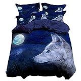 Andrui Bettwäsche Set 135x200cm 3D Tier Wolf Premium Bettbezug und Kissenbezug Set Kinderbettwäsche Jungs Mann Bettbezug Ganzjahr