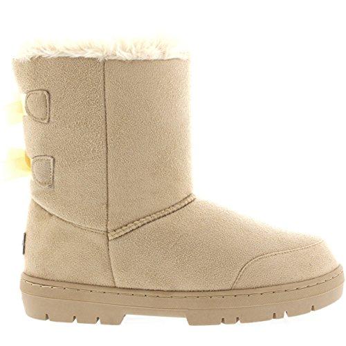 Holly Damen Schuhe Twin Schleife Fell Schnee Regen Stiefel Winter Pelzstiefel - Beige - BEI42 AEA0309 -