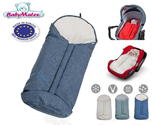 Preisvergleich Produktbild BabyMatex ** BabyFit 2in1 PLUTO 80cm ** Winter-Kombi-Fußsack WIND und WASSERDICHT -- Ideal für 3 und 5 Punkt Gurt Systeme -- Für Maxi Cosi Autositz, Kinderwagen, Schlitten etc. (Blau / Canvas)