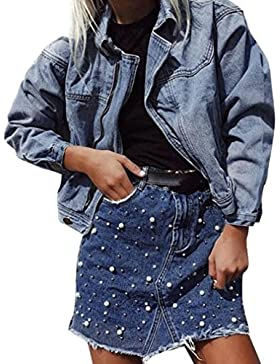 Falda Vaquera Midi LHWY, Falda De Mezclilla Femenina Irregular Alta Cintura Bodycon LáPiz Corto Mini Falda Corta