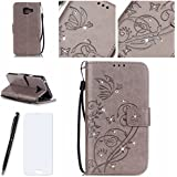 Lotuslnn Samsung Galaxy A3 2016 Coque, Kristall Strass Pave Flip Wallet Cuir Etui Samsung Galaxy A3 2016 Case Housse -( Coque+ Stylus Stift+Screen Protector)-Ppillon, Gris
