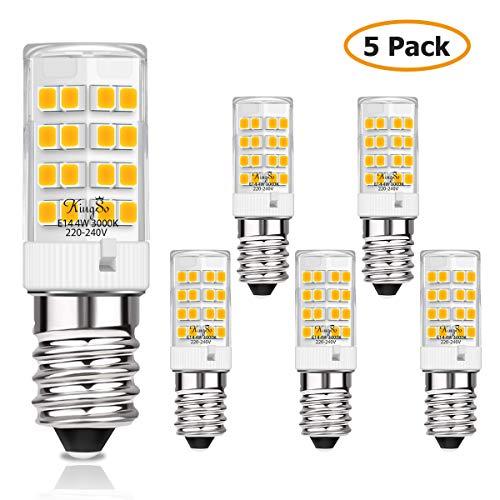 KINGSO E14 LED Lampe 4w 450lm Warmweiss Ersatz für40WHalogenlampen LED Leuchtmittel 230V 3000K für Kühlschrank, Nähmaschine, Nachttischlampe, Dunstabzugshaube 5er Pack Nicht Dimmbar