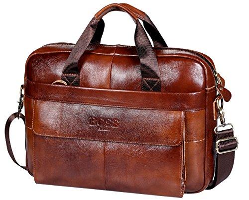15,6 Zoll Laptop Aktentasche,BOSSARON Handarbeit Leder Aktentasche Business-Schulter Business-Tasche für 13 14 Zoll Computer Notizbuch (Rot Braun-AP)