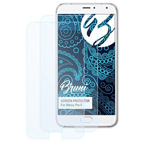 Bruni Schutzfolie für Meizu Pro 5 Folie, glasklare Bildschirmschutzfolie (2X)