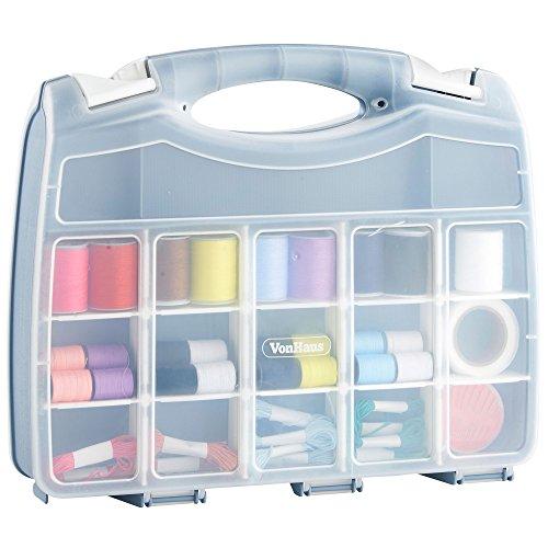 """VonHaus 14.5"""" Doppelseitige Aufbewahrungsbox in Grau & Weiß mit 36 Fächern – Ideal für Handwerk, Kunst, Schönheit, DIY& Angeln"""