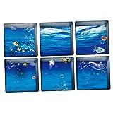 Gazechimp 6 Stk. 3D Antirutsch Aufkleber Sticker für Duschen / Fliesen - Meer und Fisch
