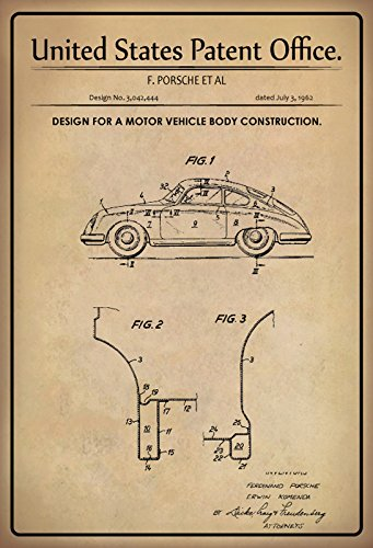 US Patente - Design for Motor Vehicle Body Construction - Entwurf für Karosseriebau für Kraftfahrzeuge- Porsche 1962 - Design No 3.042.44 - schild aus blech, metal sign, tin Entwurf-motor