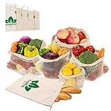 WooBrit 6 Set Wiederverwendbar Gemüsenetz Baumwolle Einkaufstaschen für Obst und Gemüsebeutel, Einkaufsnetz Einkaufskörbe Shopping Mesh Taschen, Reusable Produce Shopper Bags
