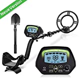 Metal Detector New Version - Amzdeal Professional Metal Detector 9,8 'LCD Screen Night Vision, Pinpoint / Disc / Notch Function Two modes of detection, with Waterproof Coil and Folding Blade