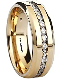 Mens Titanium Ring 8mm Wide Simulated Diamonds Classic Unisex Gold Tone Wedding  Engagement Band Ring