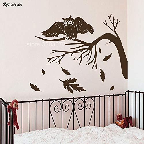 Modeganqingg Fototapete Eule Vogel Baum Applique Kinderzimmer Vinyl Aufkleber Art Deco Wandaufkleber Kaffee L 70x57cm -