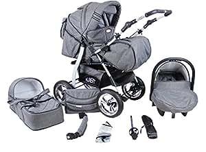 3 in 1 Kombikinderwagen Komplettset VIP - inkl. Kinderwagen, Babyschale und Sportwagen Aufsatz - 1. ALU Hartgummi Bereifung - 19. Schwarz-Weiss