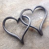 His and Hers Linked Iron Hearts
