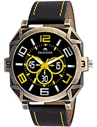 Swisstone REBL048-BLK Black Leather Strap Analog Wrist Watch For Men