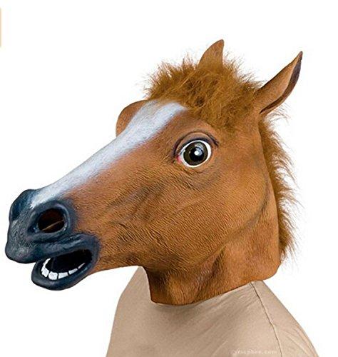 Pferd Maske Latex Kostüm Karneval oder Halloween. Original-Kostüm Tier Maske aus vollen Kopf braun Kautschuk. Ergänzung. Ideale Größe für Erwachsene.