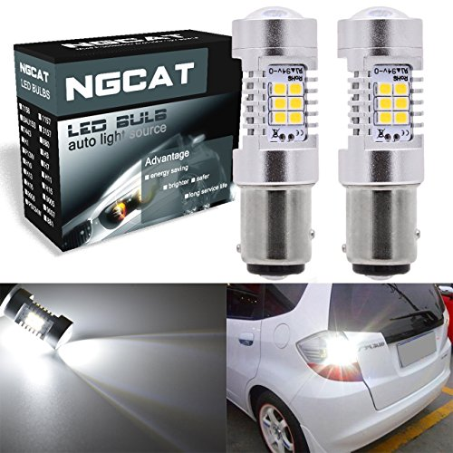 Bombilla led de posición con lente proyector, señal de giro, freno, marcha atrás, luces de respaldo traseras, 2 unidades, 1157, 2057, 2357, 7528, BAY15D, 2835, circuito integrado 21 SMD, bombillas led 10-16V, 10,5 W, xenón blanco, de NGCAT.