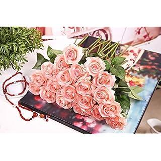 Ayouyou 5 Stück Latex Simulation künstliche Rosen-Hochzeits Blumensträuße Valentinstag Rosen Hause dekorative Blume Feuchtigkeitscreme Rosen (Champagner) EINWEG Verpackung