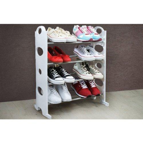 4 Tier White Free Standing Shoe Rack Stand Storage Organiser Shelf by OnlineDiscountStore