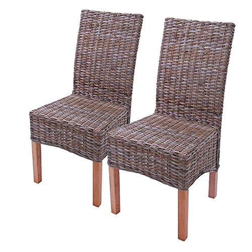 Rattan, Ohne Armlehnen Stuhl (2x Esszimmerstuhl Korbstuhl Stuhl M44, Kubu-Rattan ~ ohne Sitzkissen)
