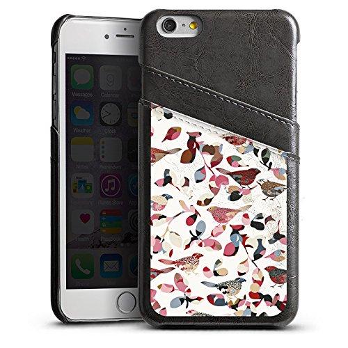 Apple iPhone 5s Housse Étui Protection Coque Oiseaux Printemps Motif Étui en cuir gris
