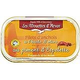 Les Mouettes d'Arvor Filets d'Anchois au Piment d'Espelette à l'Huile d'Olive 69 g - Lot de 5