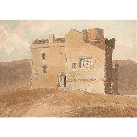 Venta de Juan castillo de COTMAN no identificado (Antiguamente llamado Clanbury castillo). 18th-siglo 19 en inglés. Cartel de la reproducción en 200gsm A3 satén de seda lustre bajo tarjeta del