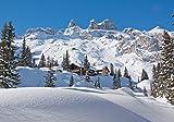 wandmotiv24 Fototapete Verschneite Alpen L 300 x 210 cm - 6 Teile Fototapeten, Wandbild, Motivtapeten, Vlies-Tapeten Landschaft, Winter, Schnee M0454