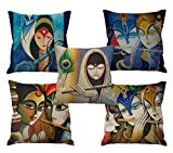 #7: Aart Abstract Women Theme HD Printed Cushion Covers (Multicolor_ 24X24 _Set Of 5)