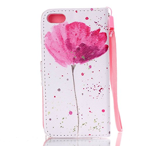 Coque pour Apple iPhone 5 5S SE - Yihya Fermeture Magnetique Carte Slots Stand Cover Case Premium PU Cuir Flip Portefeuille Wallet Etui Housse avec Lanyard Strap + Stylus Pen--Style 04 Style 29