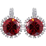 Yazilind Dazzling Silver Plated Round Cut Cubic Zirconia CZ Round Cast Post Stud Earrings