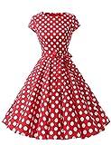 Caissen Damen 50er Vintage Retro Cap Sleeve Rockabilly Karneval Kleid Geblümt Punkte Swing Partykleid mit Gürtel Rot Weiße Gepunktet Größe S
