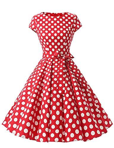 (Caissen Damen 50er Vintage Retro Flügelärmel Rockabilly Karneval Kleid Geblümt Punkte Swing Partykleid mit Gürtel Rot Weiße Gepunktet Größe S)