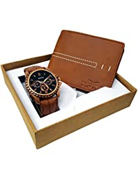 XPRA Analog Watch & Brown Leather Wallet for Men/Boys Combo (Pack of 2) - (WCH-WL-14)