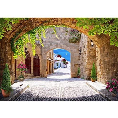 Qwerlp Mediterrane Straße Alley Arch Fototapete Wandbild Wohnkultur Wohnzimmer Tapeten 3D Selbstklebende Vinyl-150X120CM