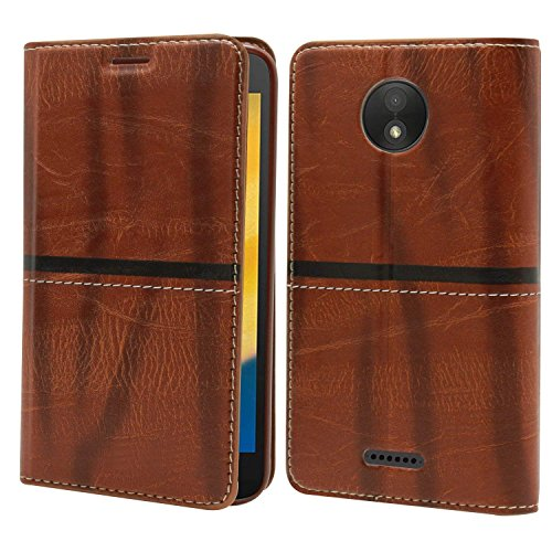 Explocart Leather Wallet Flip Case Cover for Motorola Moto C Plus -Leather Brown