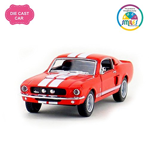 Kinsmart 5\'\' 1:38 Scale 1967 Shelby Gt-500 Classic Pull Back Car Toys for Kids from Smiles Creation (Red)