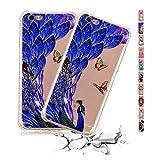 Coque iPhone 5 5S Se Cute Paon Bleu TPU Silicone Case Transparent Antichoc Soft Gel...