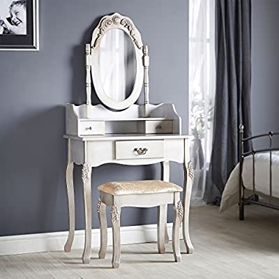 Beautify Vintage-Style Silver Dressing Table, Mirror & Stool Vanity Set with 3 Drawers - low-cost UK light shop.