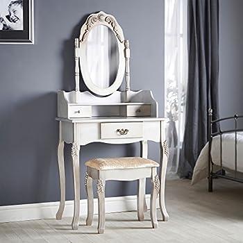 Beautify Vintage Style Silver Dressing Table, Mirror U0026 Stool Vanity Set  With 3 Drawers