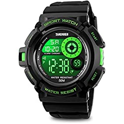 Mens Digital Watch Sport Wrist Watch Fashion and Big Face Dial 5 ATM Water Resistant-Green