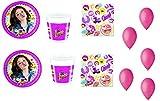 Cdc -kit n°10 festa e party Soy Luna- (40 piatti, 40 bicchieri, 40 tovaglioli,100 palloncini)