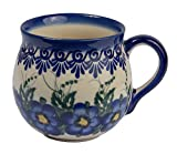 Traditionelle Polnische Keramik, handgefertigte keramische Tassen, ein Kugelbecher mit Muster im Bunzlauer Stil (350ml), Q.502.PANSY
