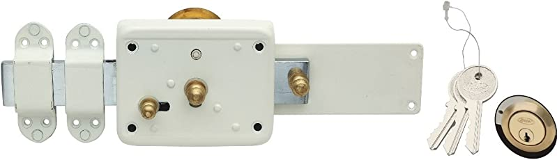 Spider Cylindrical Gate Lock 6 Turn, 3 Brass Normal Keys with Ivory Finish (Door Lock), (Pack of 1Pc), [ CGL21V ]