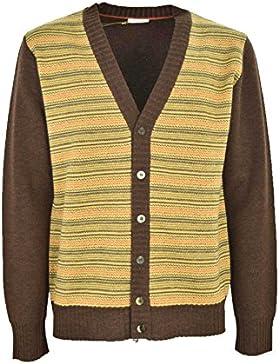 Tejer el Hombre de la Chaqueta de punto, Escote en V con tapeta de Botón amarillo y marrón - 100% Pura Lana virgen