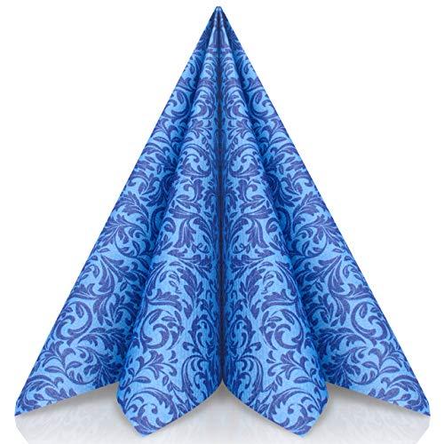 GRUBly Servietten BLAU | Stoffähnlich [50 Stück] | Hochwertige Blaue Servietten, Tischdekoration für Hochzeit, Geburtstag, Feiern, Taufe, Kommunion, Konfirmation | 40x40cm | AIRLAID QUALITÄT (Blau Royal Tischdekoration)